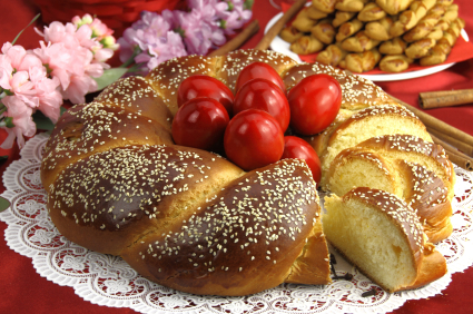Easter sweet bread with red eggs